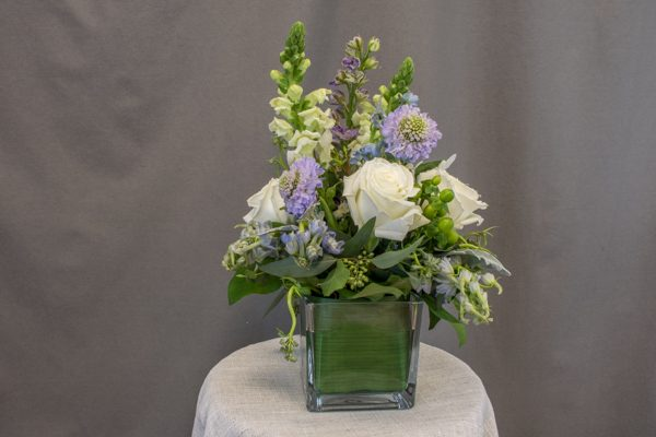 Tranquil Falls - $69.00 3 white roses with 4 light purple scabiosa