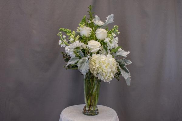 Nostalgia - tall white hyrangea, 3 white roses