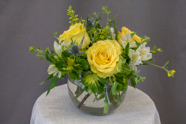 Obsidian - $39.00 3 yellow roses in bubble bowl